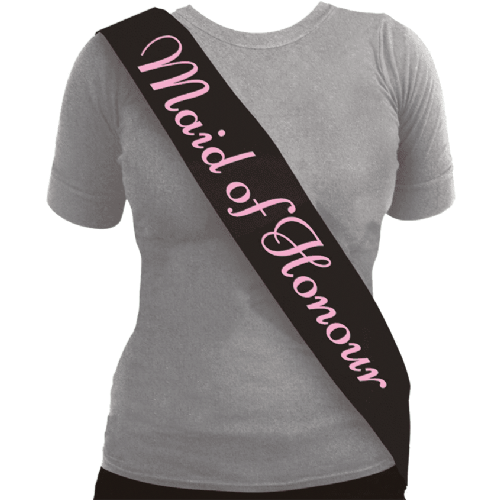 SASH MAID OF HONOUR BLACK W/PINK TEXT